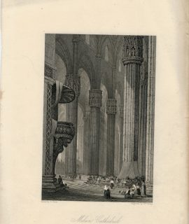 Antique Engraving Print, Milan Cathedral, 1836