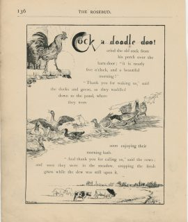 Vintage Print, Cock a doodle doo, 1890