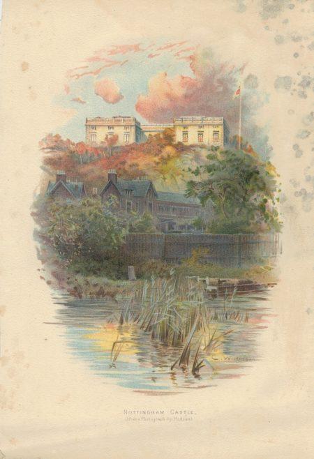 Vintage Print, Nottingham Castle, C. Wilkinson,