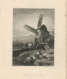 Antique Engraving Print, Mill near the Hague, 1836