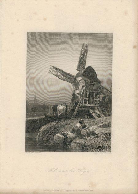Antique Engraving Print, Mill near the Hague, 1836
