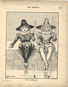 Vintage Print, Two Fisherman, 1890
