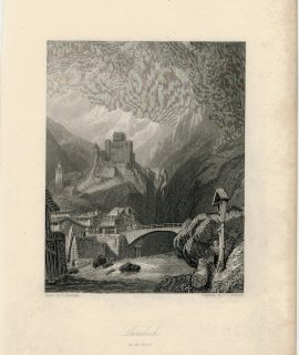 Antique Engraving Print, Landech in the Tyrol, 1836