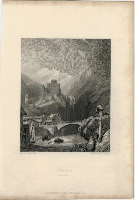 Antique Engraving Print, Landech in the Tyrol, 1836