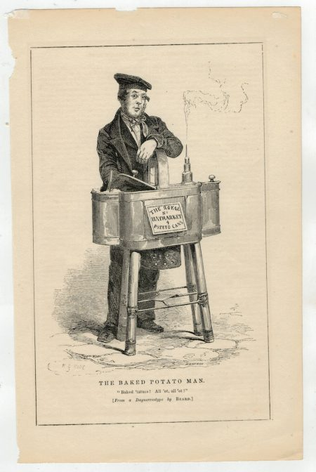 Antique Print, The Baked Potato Man, 1840