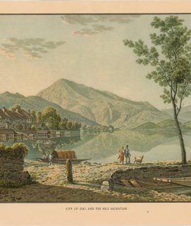 Rare Antique Print, City of Zug and the Rigi Mountain, 1880
