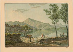 Rare Antique Print, City of Zug and the Rigi Mountain, 1880