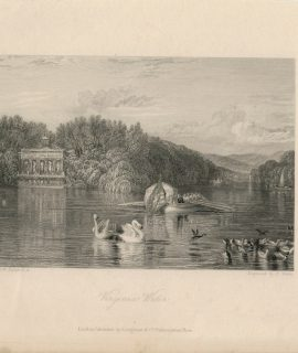 Antique Engraving Print, Virginia Water, 1836