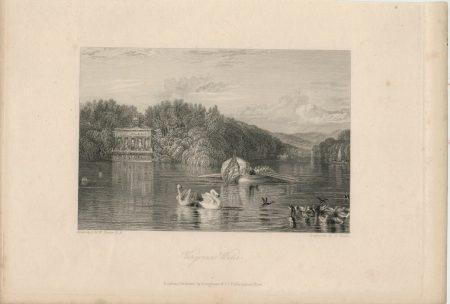 Antique Engraving Print, Virginia Water, 1836