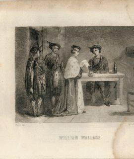 Rare Antique Engraving Print, William Wallace, 1840