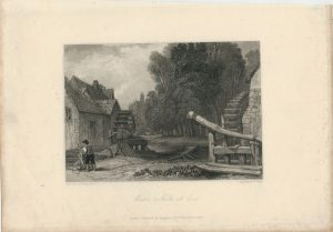 Antique Engraving Print, Water Mill, 1836