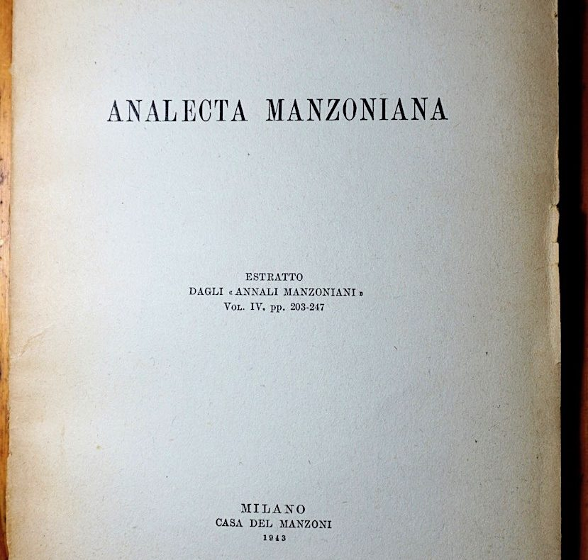 Fausto Ghisalberti, Analecta Manzoniana