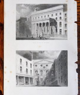 Antique Engraving Print, Royal College of Surgeons; Apothecaries Hall, 1850