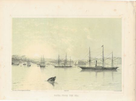 Antique Print, Napha from the sea, 1856