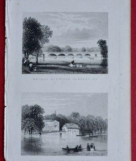 Antique Engraving Print, Bridge Over the Serpentine; Royal Human Society Serpentine, 1853