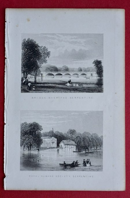 Antique Engraving Print, Bridge Over the Serpentine; Royal Human Society Serpentine, 1853