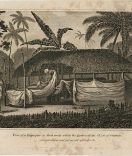 Antique Engraving Print, View of a Tippapow or Shed, under which the Bodies of the Chiefs of Otahaite are embalmed and preserved after death, 1770