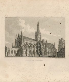 Antique Engraving Print, Chichester Cathedral, 1820