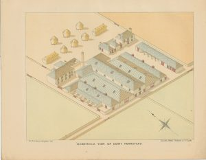 Rare Antique Print, Isometrical View of Dairy Farmstead, 1890