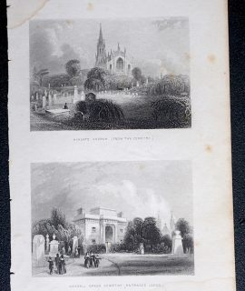 Antique Engraving Print, Hihgate Church; Kinsall Green Cemetery, 1850