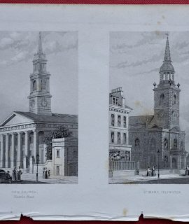 Antique Engraving Print, New Church; St. Mary Islington, 1850