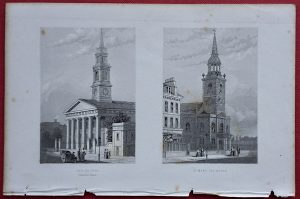 Antique Engraving Print, New Church; St. Mary Islington, 1850