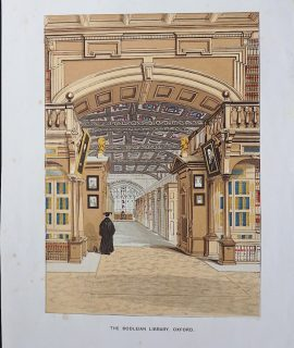 Antique Print, The Bodleian Library, Oxford, 1850