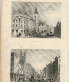 Antique Engraving Print, Lothbury; Cornhill, 1850