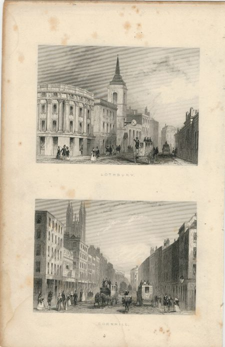 Antique Engraving Print, Lothbury; Cornhill, 1850