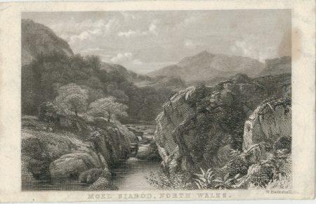 Antique Engraving Print, Moel Siabod, North Wales, 1830