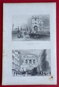 Antique Engraving Print, New Lodge Victoria Park; Temple Bar, 1850