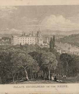 Antique Engraving Print, Palace Heidelberg on the Rhine, 1850