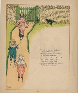 Vintage Print, Nursery Rimes 1910, signed K.G.