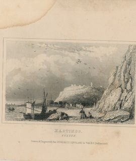 Antique Engraving Print, Hastings, Sussex, 1840
