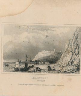 Antique Engraving Print, Hastings, Sussex, 1840
