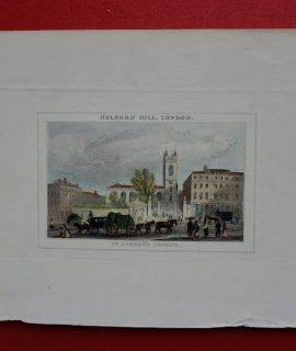 Antique Engraving Print, St. Andrew's Church, 1850