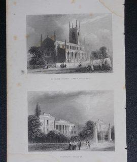 Antique Engraving Print, St. John Church; Highbury College, 1850