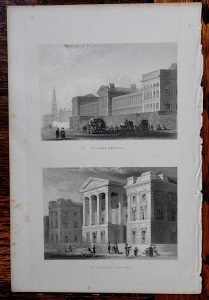 Antique Engraving Print, St. Lukes Hospital; St. Georges Hospital, 1850