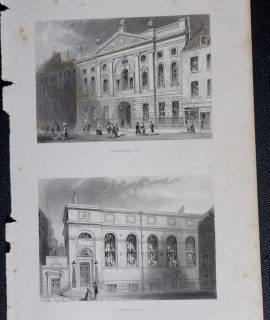 Antique Engraving Print, Ironmongers Hall; Stationers Hall, 1850
