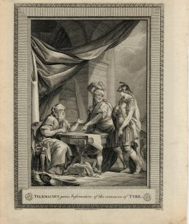 Antique Engraving Print, Telemachus Gains Information of the Commerce of Tyre, 1775
