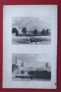 Antique Engraving Print, Temple Gardens; Adelphi Terrace, 1852