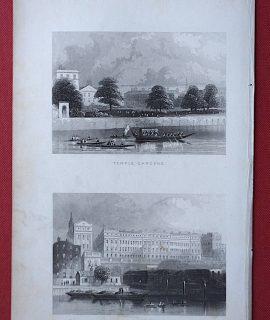 Antique Engraving Print, Temple Gardens; Adelphi Terrace, 1852