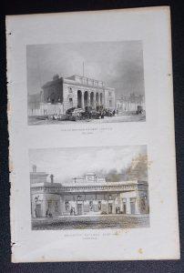 Antique Engraving Print, South Western Railway Station; Brighton Railway Station, 1850