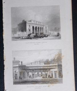 Antique Engraving Print, South Western Railway Station; Brighton Railway Station, 1850