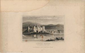 Antique Engraving Print, Conway Castle, Wales, 1840