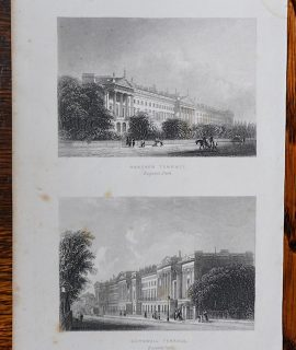 Antique Engraving Print, Hanover Terrace; Cornwall Terrace, 1850