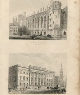 Antique Engraving Print, Christ's Hospital; Goldsmiths' Hall, 1852