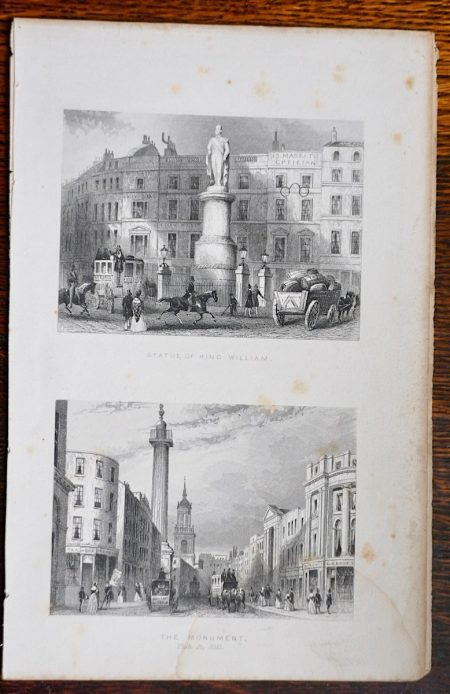Antique Engraving Print, Statue of King William; The Monument, 1850