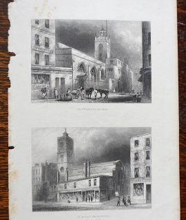 Antique Engraving Print, Cripplegate Church; St. Dionis Backchurch, 1850