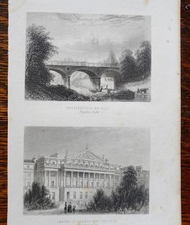 Antique Engraving Print, Macclesfield Bridge; Centre of Cumberland Terrace, 1850